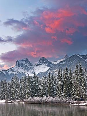 Three Sisters Winter Sunrise Poster