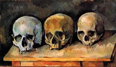 Three Skulls Poster by Paul Cezanne