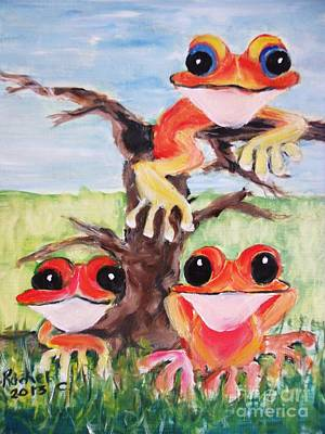 Three Tee Frogs Poster by Rachel Carmichael