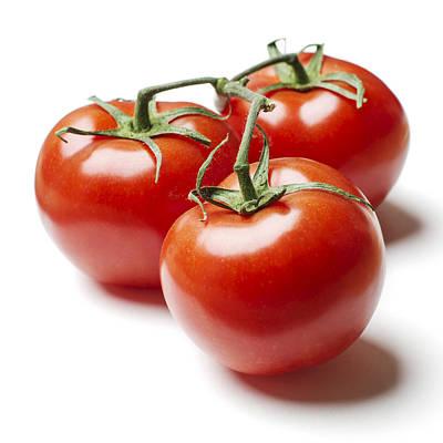 Three Tomatoes On Vine Poster