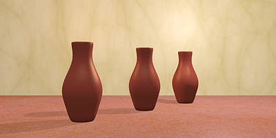 Poster featuring the digital art Three Vases by Gabiw Art