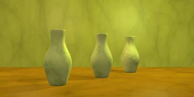 Poster featuring the digital art Three Vases II by Gabiw Art