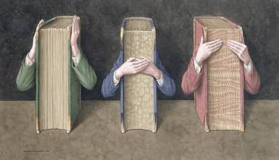 Three Wise Books, 2005 Wc On Paper Poster by Jonathan Wolstenholme