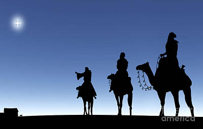 Three Wise Men Following A Star Poster