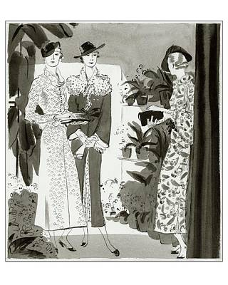 Three Woman In A Garden Wearing Designer Dresses Poster by Jean Pages