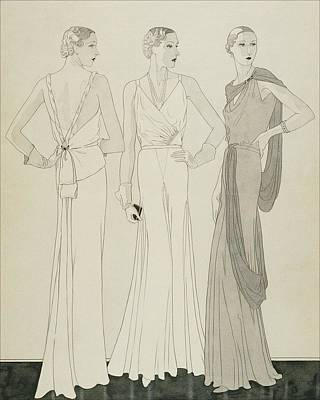 Three Women Wearing Evening Dresses By Maggy Poster by Douglas Pollard
