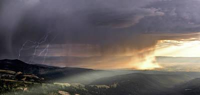 Thunder Shower And Lightning Over Teton Valley Poster by Leland D Howard