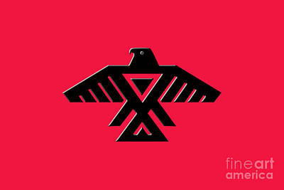 Thunderbird Emblem Of The Anishinaabe People Black On Red Version Poster by Bruce Stanfield
