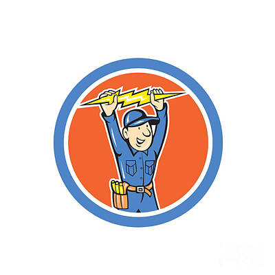 Thunderbolt Toolman Electrician Lightning Bolt Cartoon Poster