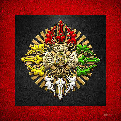 Tibetan Double Dorje Mandala - Double Vajra On Black And Red Poster by Serge Averbukh