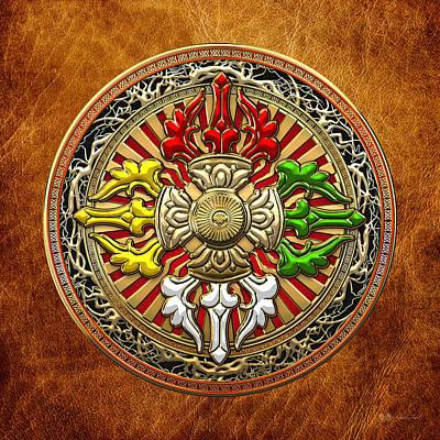 Tibetan Double Dorje Mandala - Double Vajra On Brown Leather Poster by Serge Averbukh