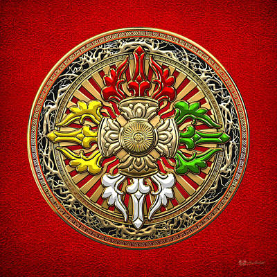 Tibetan Double Dorje Mandala - Double Vajra On Red Leather Poster by Serge Averbukh