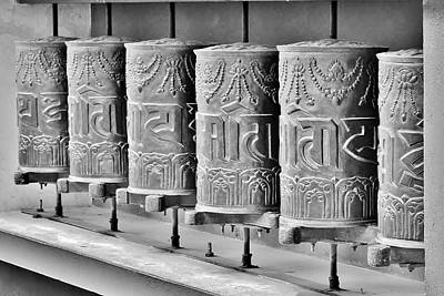 Tibetan Prayer Wheels - Black And White Poster by Kim Bemis