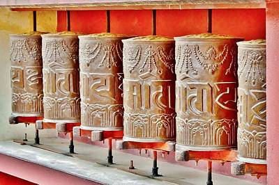 Tibetan Prayer Wheels Poster by Kim Bemis