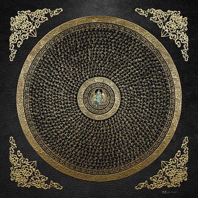 Tibetan Thangka - Green Tara Goddess Mandala With Mantra In Gold On Black Poster