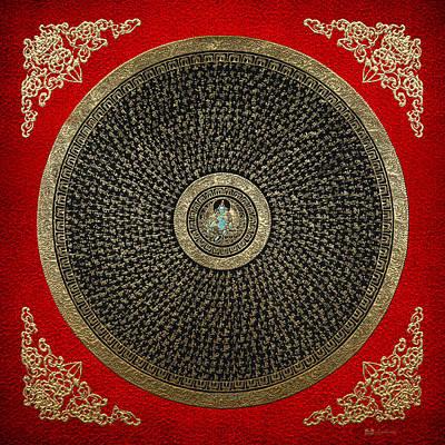 Tibetan Thangka - Green Tara Goddess Mandala With Mantra In Gold On Red Poster by Serge Averbukh