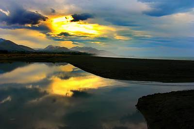 Poster featuring the photograph Tidal Pond Sunset New Zealand by Amanda Stadther