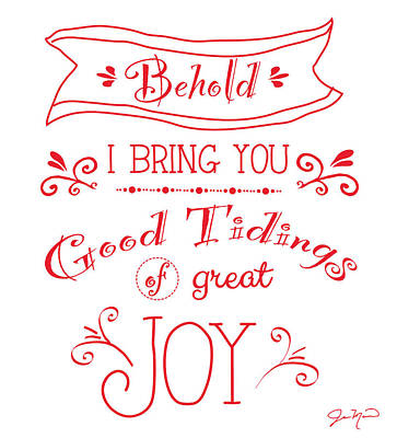 Tidings Of Great Joy Red By Jan Marvin Poster by Jan Marvin