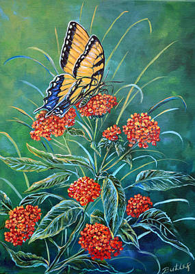 Tiger And Lantana Poster by Gail Butler