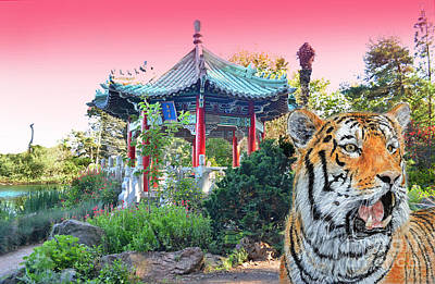 Tiger By A Chinese Pagoda Poster by Jim Fitzpatrick