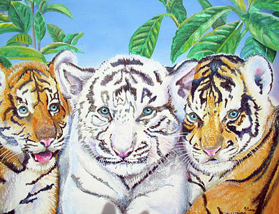 Poster featuring the painting Tiger Cubs by Thomas J Herring