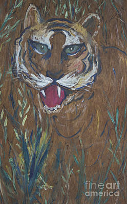 Tiger In Wood Poster by Avonelle Kelsey