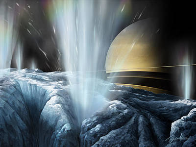 Tiger Stripes The Icy Jets Of Enceladus Poster by Lucy West