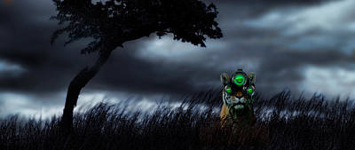 Tiger Wearing Night Vision Goggles Poster