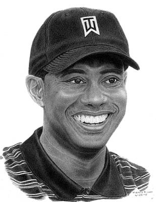 Tiger Woods Poster by Marvin Lee