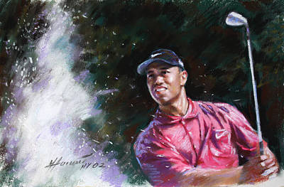 Poster featuring the drawing Tiger Woods  by Viola El