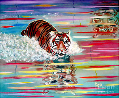 Poster featuring the painting Tigers Crossing by Phyllis Kaltenbach