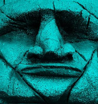 Tiki Mask Aquamarine Poster