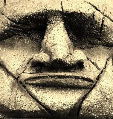 Tiki Mask Sepia Poster