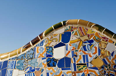 Tile Background In Park Guell In Barcelona Spain Poster by Brandon Bourdages