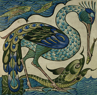 Tile Design Of Heron And Fish Poster