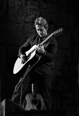 Tim Reynolds On Guitar Black And White Poster by Jennifer Rondinelli Reilly - Fine Art Photography
