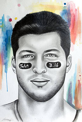 Tim Tebow Poster by Lindsay Pace