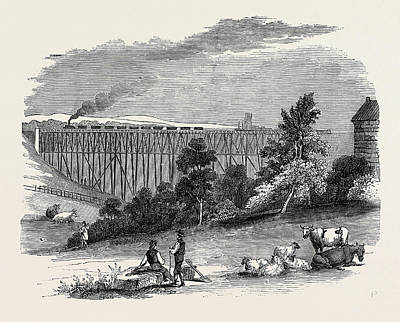 Timber Viaduct On The Darlington And Newcastle Railway Poster