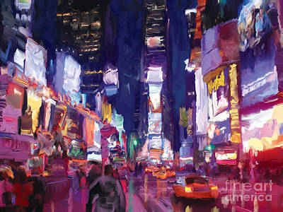 Poster featuring the painting Amy's Time Square In The Rain by Tim Gilliland