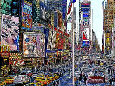 Time Square New York 20130430v2 Poster by Wingsdomain Art and Photography