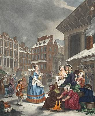 Times Of The Day Morning, Illustration Poster by William Hogarth