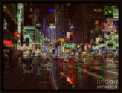 Times Square At Night - After The Rain Poster by Miriam Danar