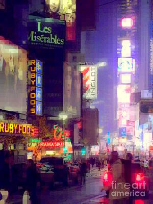 Times Square At Night - Columns Of Light Poster by Miriam Danar