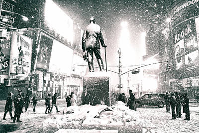Times Square In The Snow - New York City Poster by Vivienne Gucwa