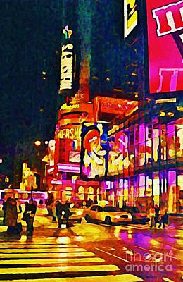 Times Square Two Poster by John Malone