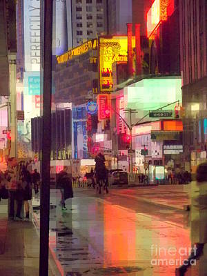 Times Square With Runaway Horse Poster by Miriam Danar