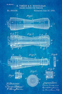 Timken Roller Bearing Patent Art 1898 Blueprint Poster