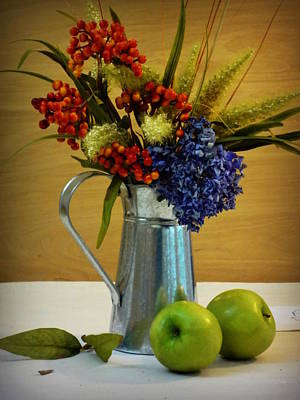 Tin Bouquet And Green Apples Poster by Deborah  Crew-Johnson