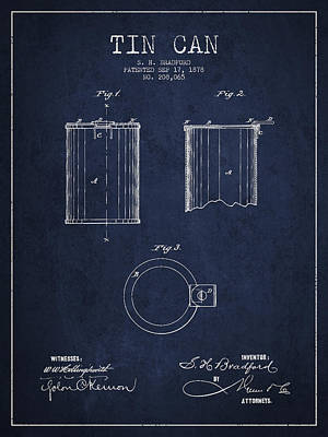 Tin Can Patent Drawing From 1878 Poster