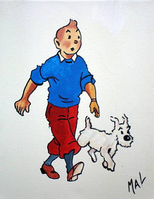 Tin Tin And Snowie 2 Poster by Marlyn Anderson